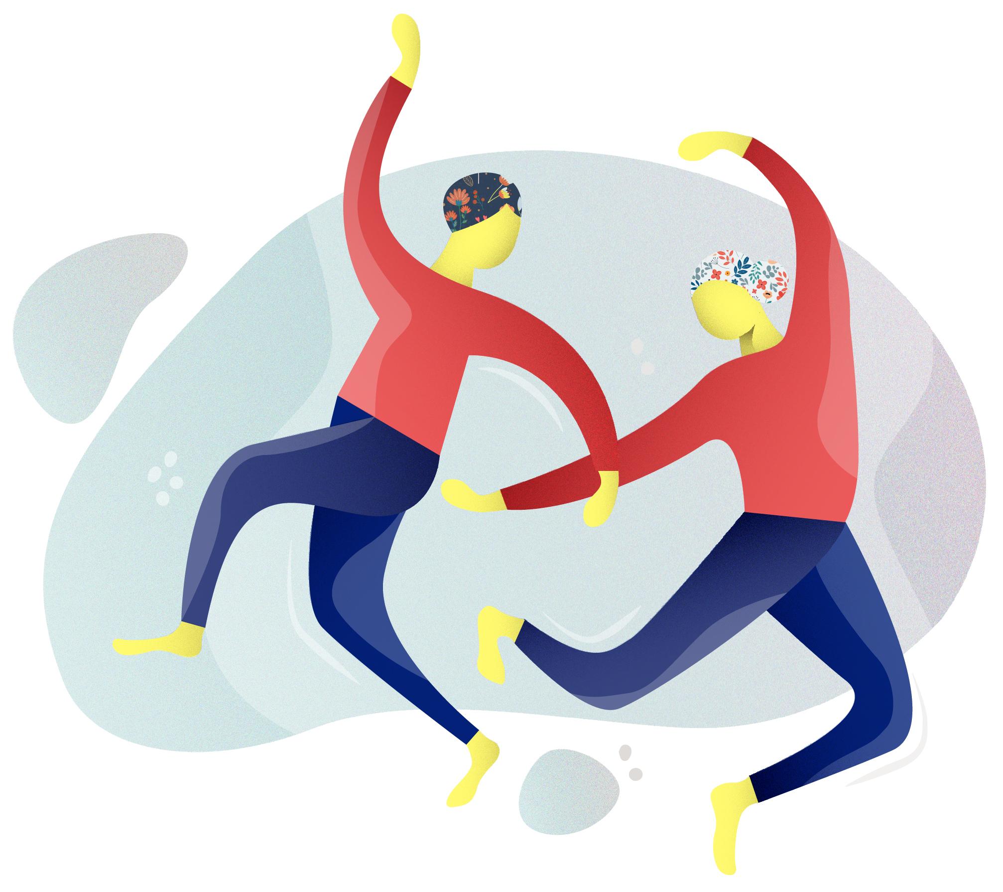 Zu sehen ist eine Illustration. Zwei Personen die in der Luft schweben und tanzende Bewegungen machen. Beide tragen Kopftücher mit einem Blumenmuster, rote Langarm Shirts und blaue Hosen.