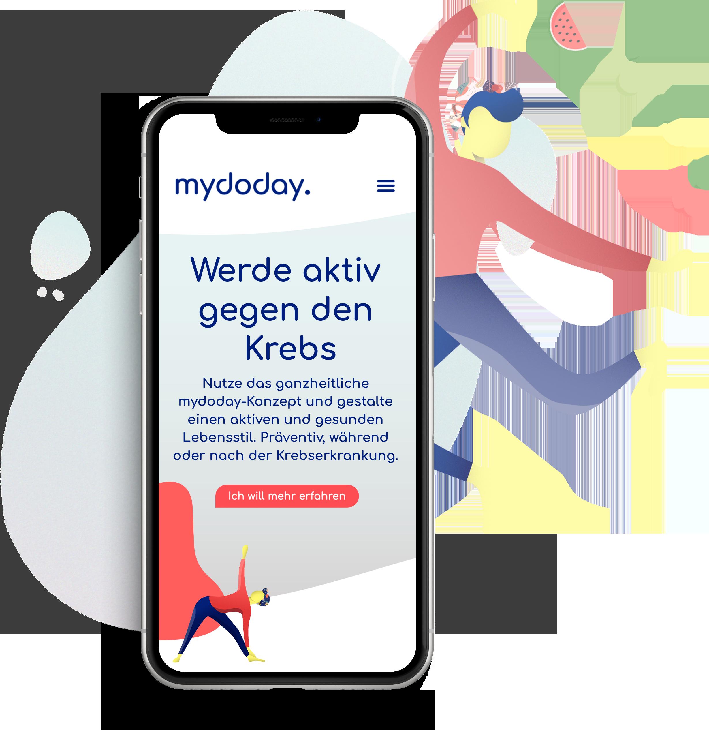 Ansicht eines iPhone-Screens. Gezeigt wird die Startseite der mydoday Website.