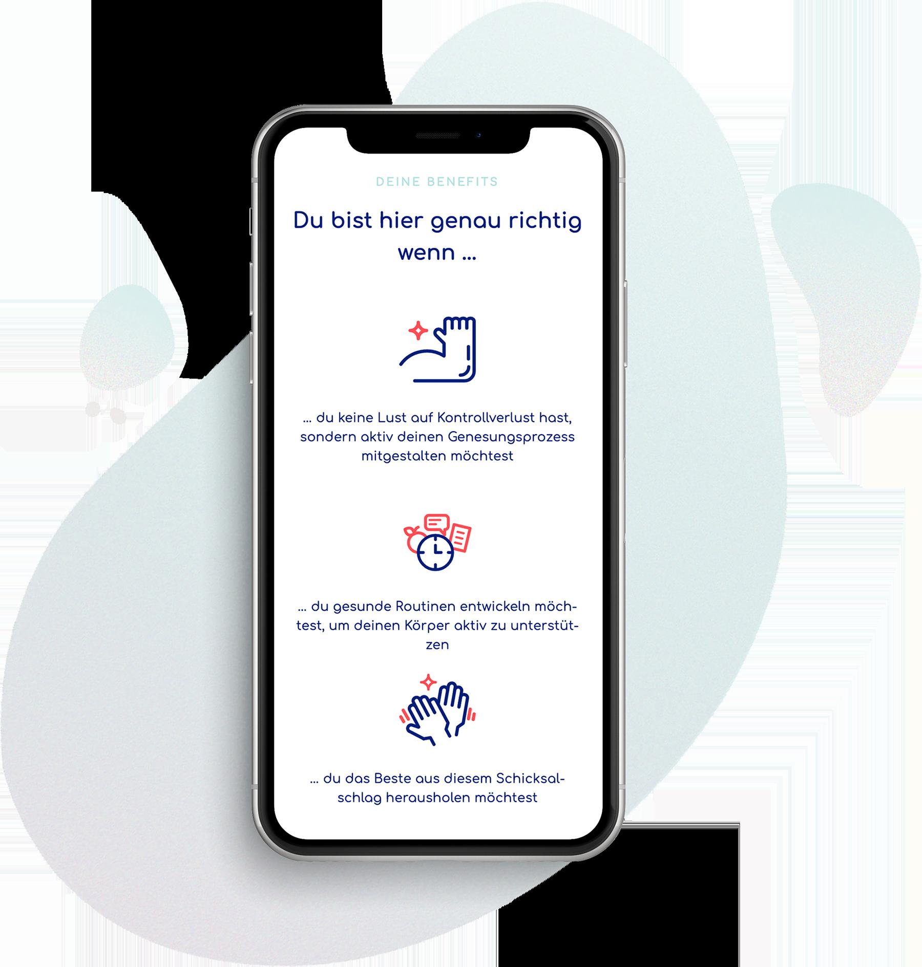 Ansicht eines iPhone-Screens. Gezeigt wird ein Ausschnit aus der mydoday-Website mit drei blau eingefärbten Icons.