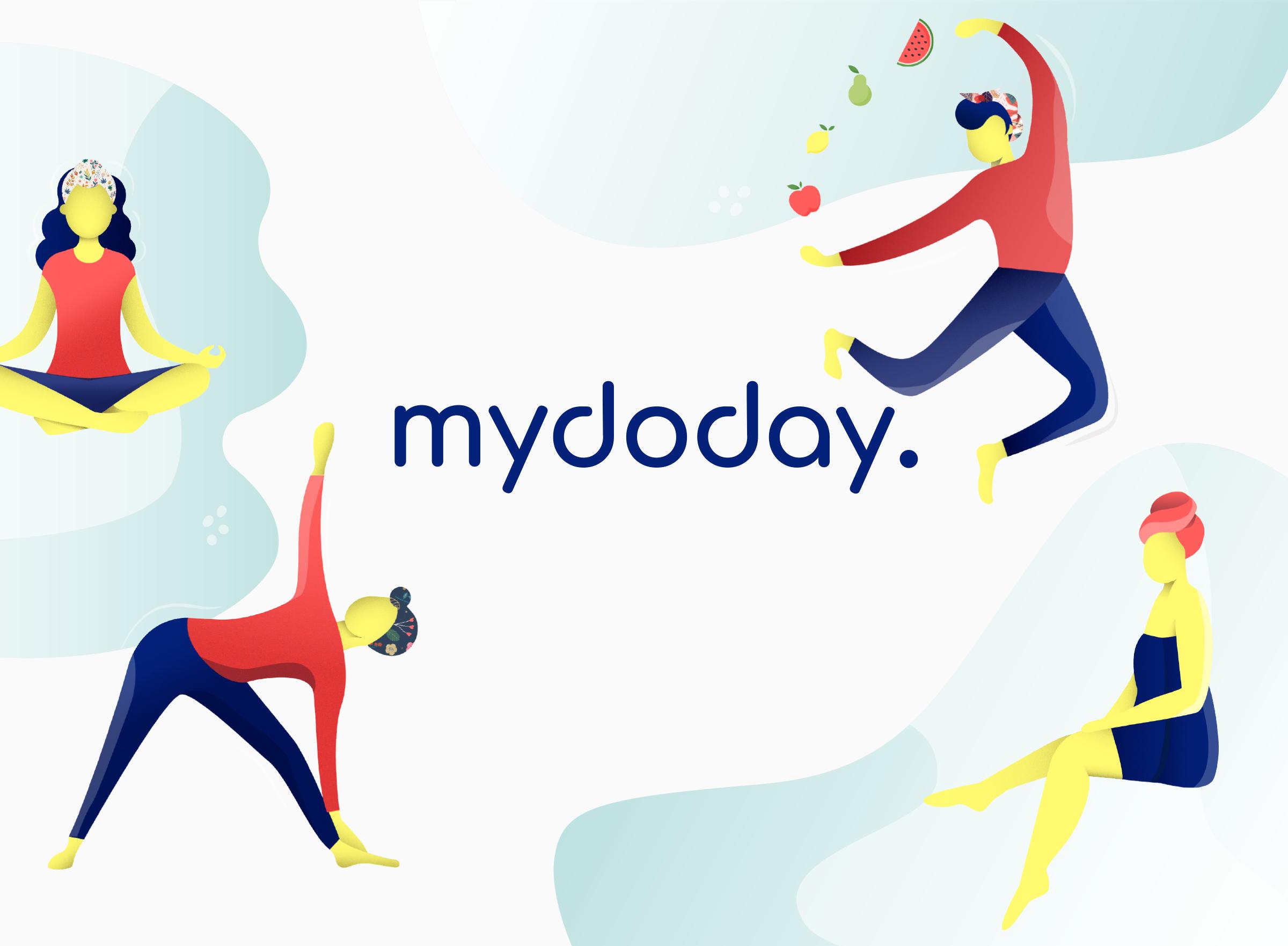 Zu sehen ist eine Illustration in der verschiedene Frauen unterschiedliche Dinge tun. Im Vordergrund jongliert eine Frau mit Früchten. Daneben meditiert eine weitere Frau. Rechts im Bild macht ein Charakter eine Yoga Pose und unten rechts sitzt eine Frau in Badehandtuch und entspannt.