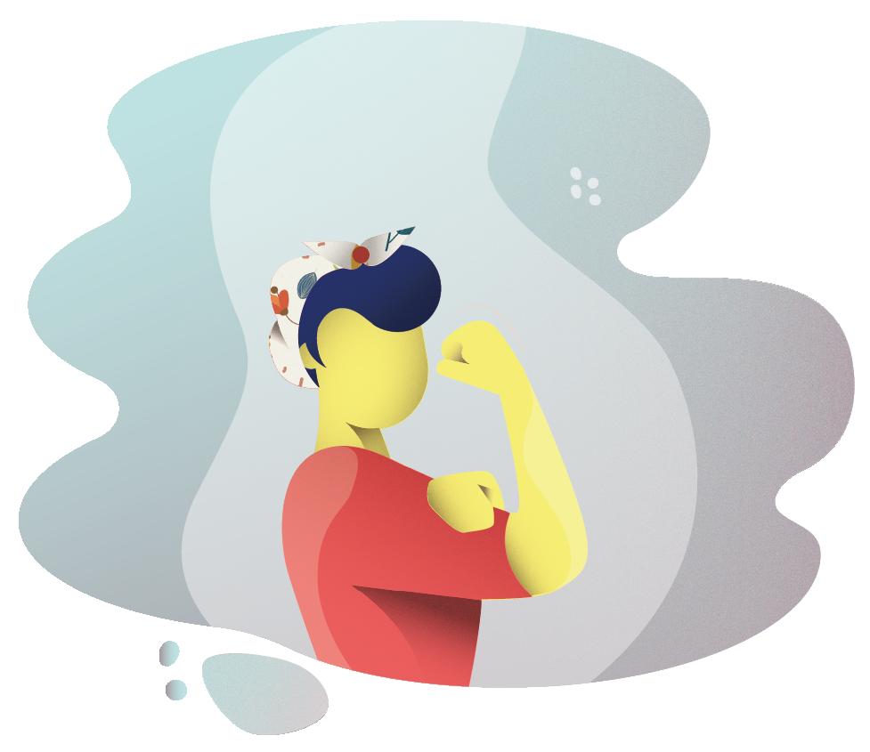 Zu sehen ist eine Illustration einer Frau, von der Seite wie sie den Ärmel hochzieht und ihre starken Oberarme präsentiert.